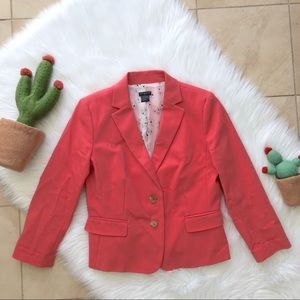 Ann Taylor Coral pink floral lined blazer